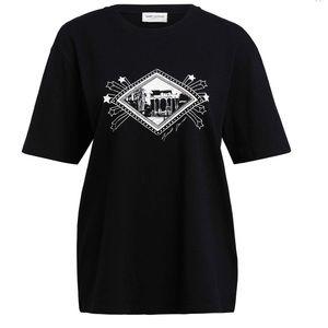 SAINT LAURENT BLACK JARDIN MAJORELLE T-SHIRT